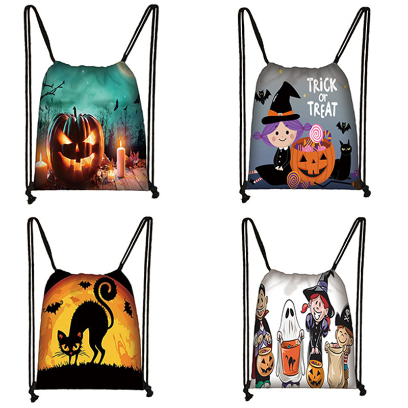 Halloween Pumpkin Drawstring Bag Party Treat Or Trick Candy Bags Storage Holder Backpack Witches Pouch Kids Gift Bag