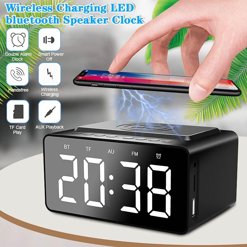 Sans fil téléphone charge bluetooth haut-parleur alarme numérique LED horloge Radio réveil haut-parleur affichage décor à la maison horloge de Table