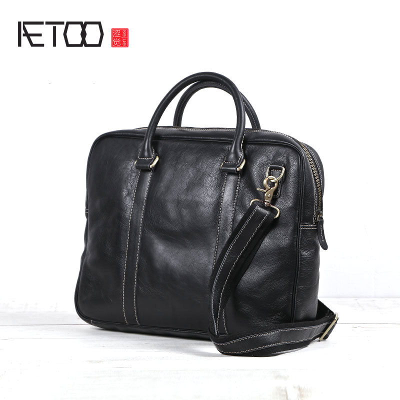 AETOO 2018 New Original Handmade Genuine Leather Briefcase Men Casual Male Black Leather Soft Cross Section Laptop Handbag