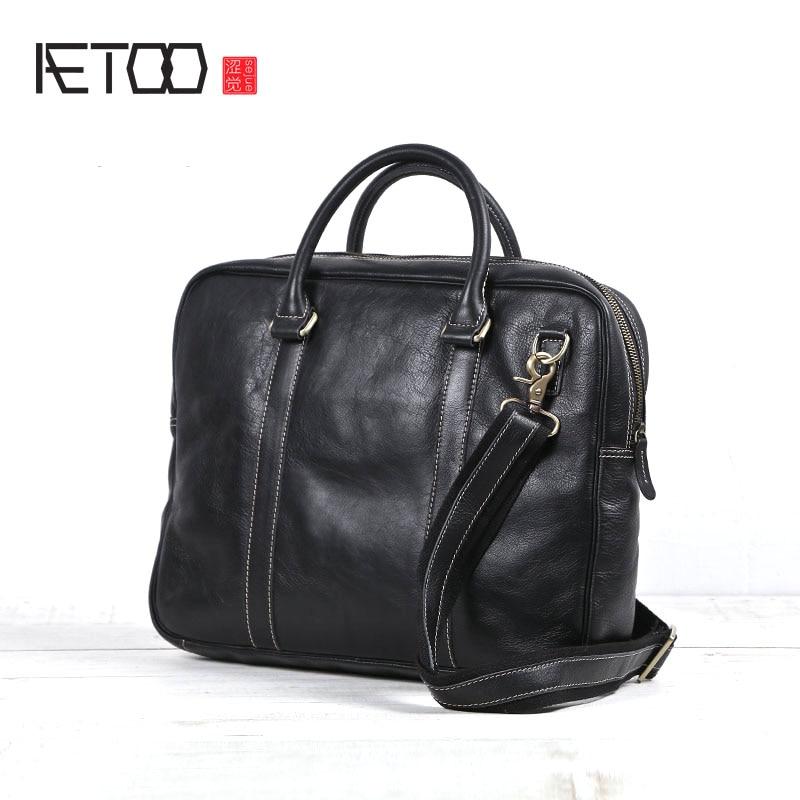 AETOO 2018 New Original Handmade Genuine Leather Briefcase Men Casual Male Black Leather Soft Cross Section Laptop Handbag