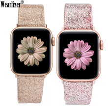 цена на Leather Band for Apple Watch 38mm 40mm Women Bling Diamond 42mm 44mm Genuine Shiny Glitter Strap for iWatch Series 5 4 3 2 1