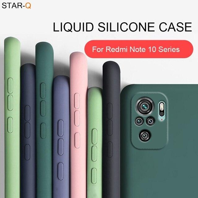 New Liquid Silicone Phone Case For Xiaomi Redmi Note 10 pro max 10s Original Camera Protective Soft Back Covers On Redmi Note10 1