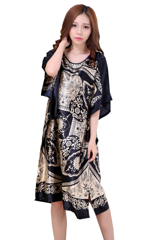 Plus Size Summer Women's Faux Silk Nigh Robe Black Lady Bath Gown Nightgown Bathrobe Sleepwear Mujer Pijama Flower Zh07C
