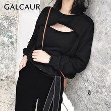 Толстовка galcaur женская с вырезами повседневный корейский