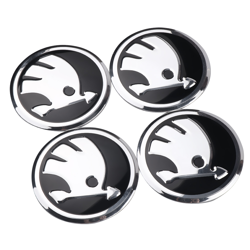 4Pcs Car Styling Car Hub Cap Wheel Dust-proof Covers Sticker Decor For Skoda Octavia Fabia Rapid Yeti Superb Octavia A 5 A 7 2