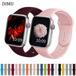DIMU Soft Silicone Sports Watchband For Apple Watch Series 5/4/3/2/1 38mm 42mm Rubber Strap For iwatch Bands Series 4 40mm 44mm(China)