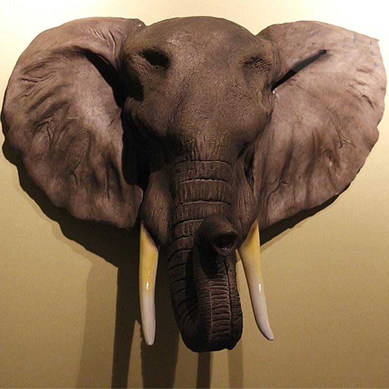 47cm African Elephant Head Figurine Wall Decor 3D Animal Head Resin Bar Club Clothing Store KTV Wall Hanging Decoration R2718