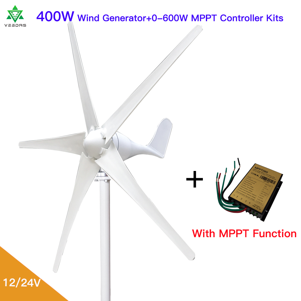 600W Wind Turbine Generator 12//24V 5//6 Blade Windmill Charge Controller