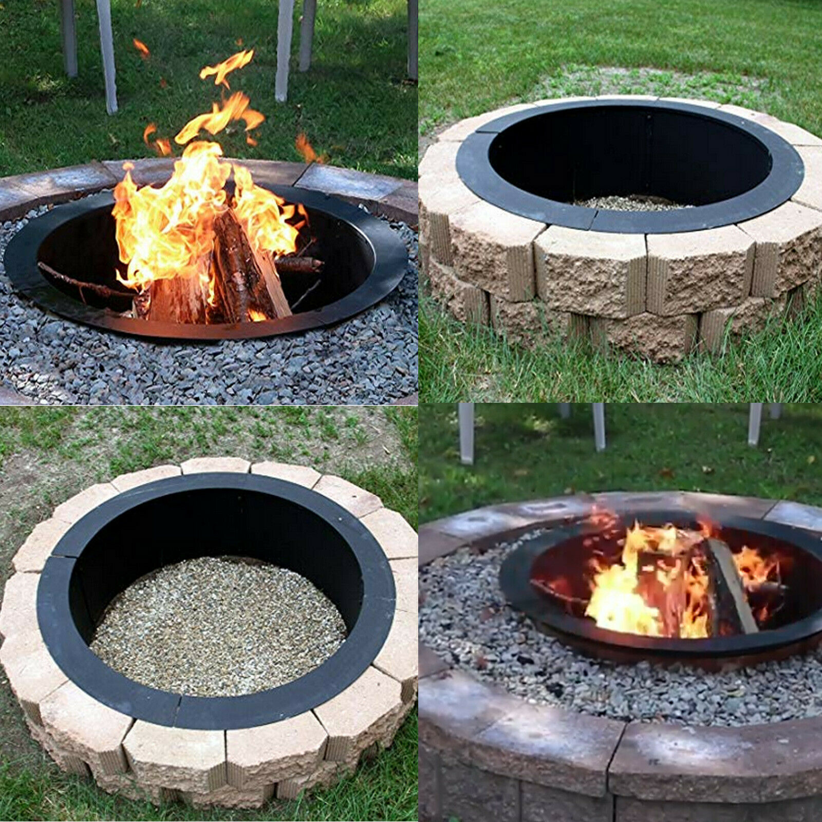 Heavy Duty Fire Pit Ring/Liner DIY Q235 Steel 45 Inch Outside X 39 Inch Inside