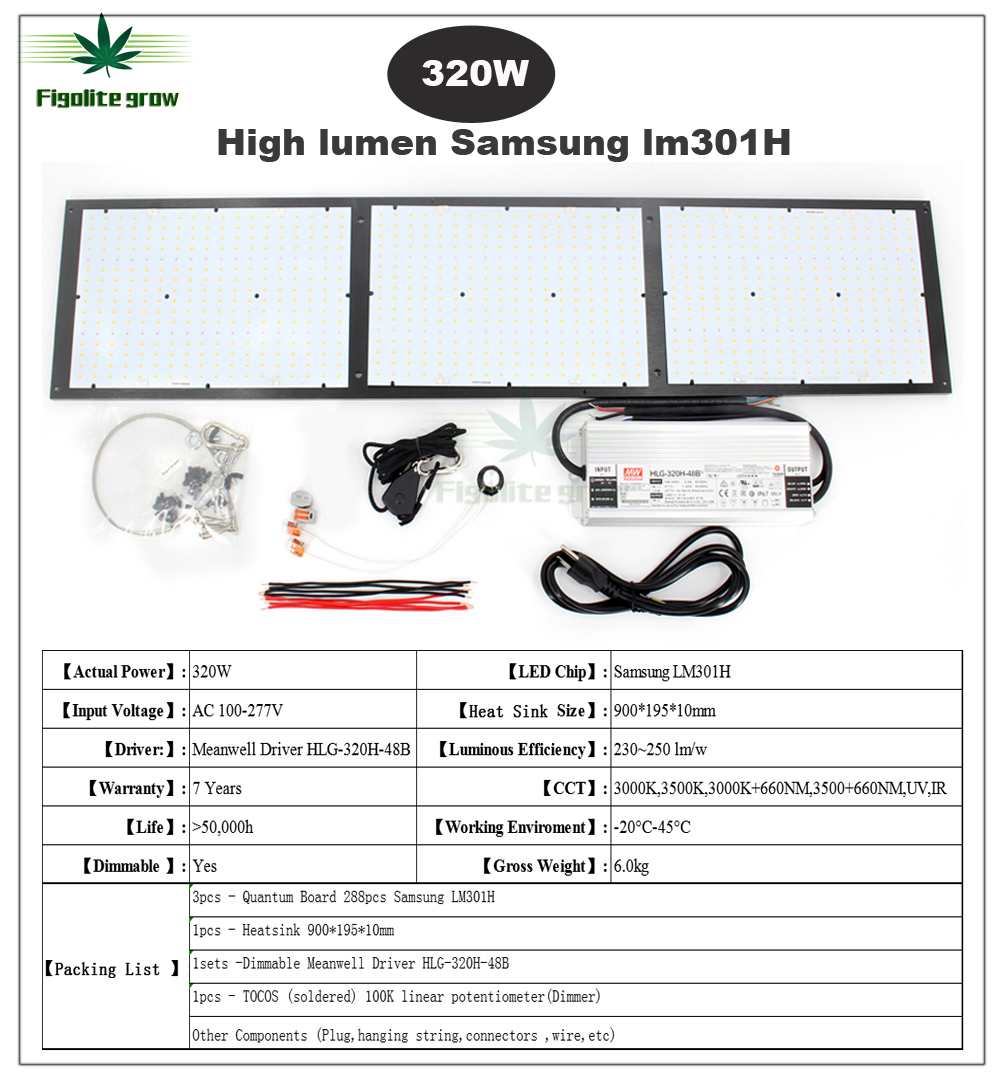 2020 Amzon Top Sell LM301H Dimmable Quantum Tech V3 Board Led Grow Light 120W 240W 320W 480W Meanwell Driver 7 Years Warranty