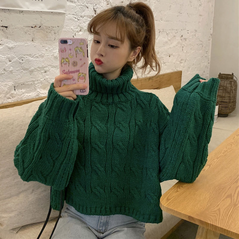 Women's Chic Korean Thickening Twist High Collar Loose Warm Sweater Autumn Winter Students Solid Color Short Turtleneck  ML140