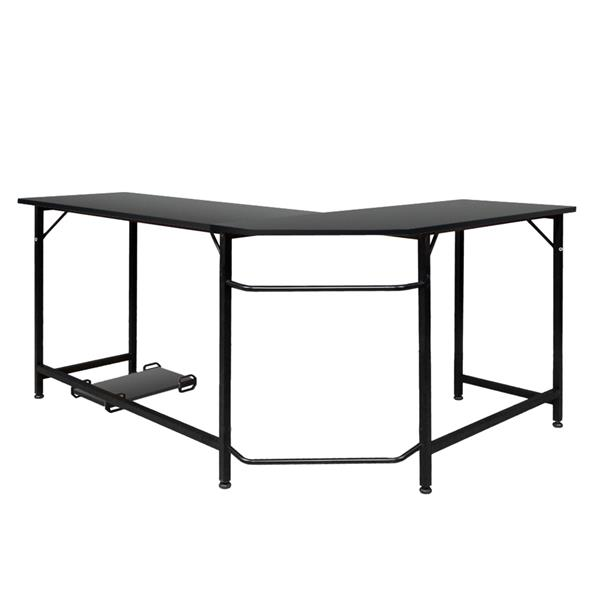 L-Shaped Desktop Computer Desk Black Made Of High Quality P2Wood And Iron. Office Desk Laptop Desk , Sturdy,stable And Durable .