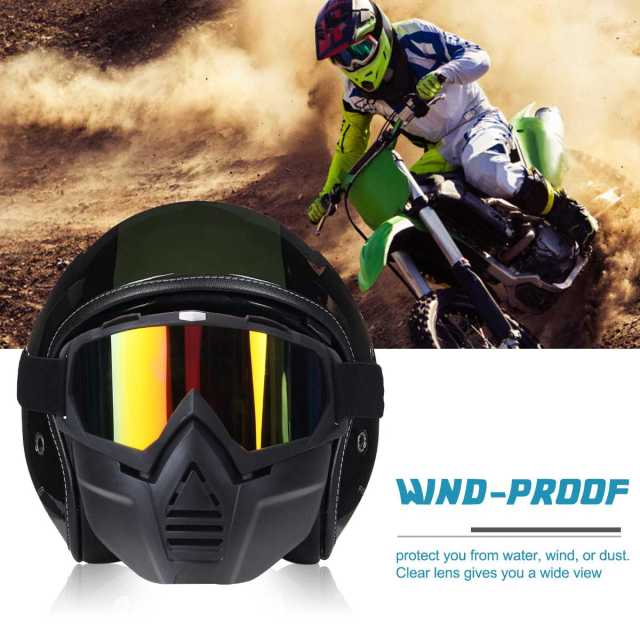 Detachable Motorcycle Tactical Face Goggles Mask Moto Wind Dust Proof Racing Cycling Helmet Protective Goggles Mask Anti-UV 2