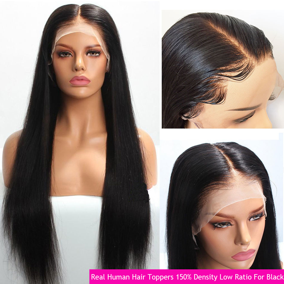 13x4 Remy Straight Lace Front Wig For Black Real Human Hair Brazilian Extension Glueless Frontal SewIn Braided Up 150% Low Ratio