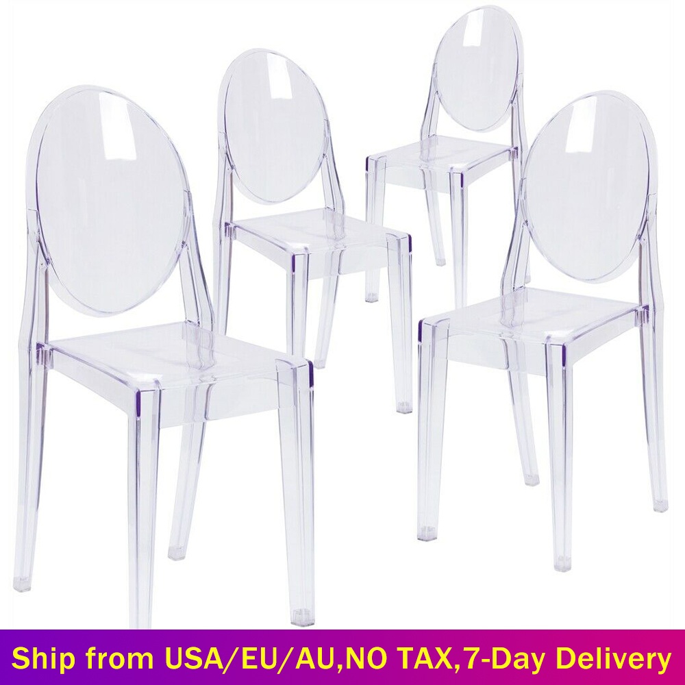 Set of 6 Dining Chairs Transparent Crystal Ghost Chair with Oval Back Modern Makeup Dressing Chair Stackable Garden Chairs Set 1