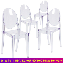 Set of 6 Dining Chairs Transparent Crystal Ghost Chair with Oval Back Modern Makeup Dressing Chair Stackable Garden Chairs Set cheap CN(Origin) =125mm Dining Room Furniture H 91cm x D 49cm x W 38 cm Minimalist Modern GHOST Clear Chairs Home Furniture