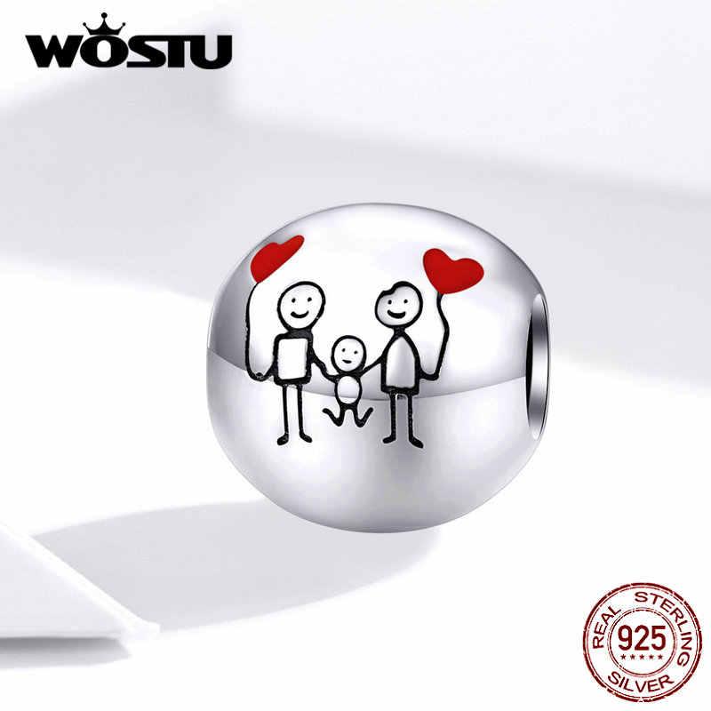 WOSTU Happy Familyลูกปัด 925 เงินสเตอร์ลิงครอบครัวCharmsพอดีสร้อยข้อมือเดิมจี้หัวใจLuckyเครื่องประดับDXC1339