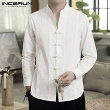 INCERUN – chemise rétro à manches longues pour homme, hauts en coton et lin, Streetwear, résistant, style traditionnel chinois