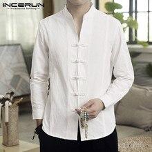 INCERUN Men Casual Shirt Solid Retro But