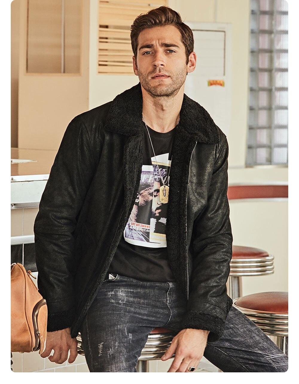 Hfb92c1ac41334045a3b8f70be0e63e14Z New Men's Real Leather Jacket Faux Fur Collar Genuine Leather Jacket