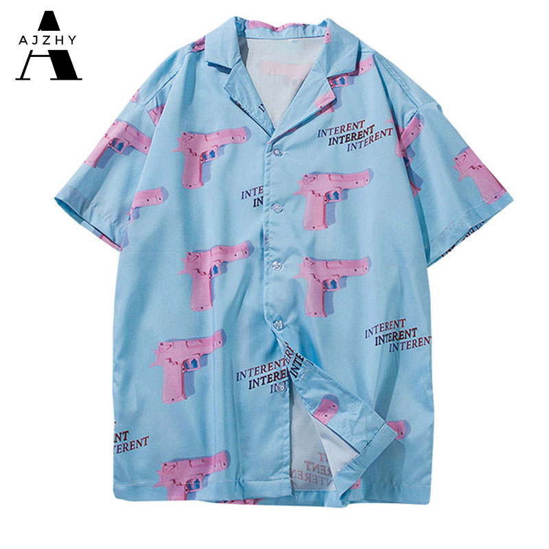 Turn-down Collar Shirts Men 2019 Summer Hawaii Style Pink Gun 3d Printing Casual Streetwear Hip Hop Short Sleeve Shirt Harujuku