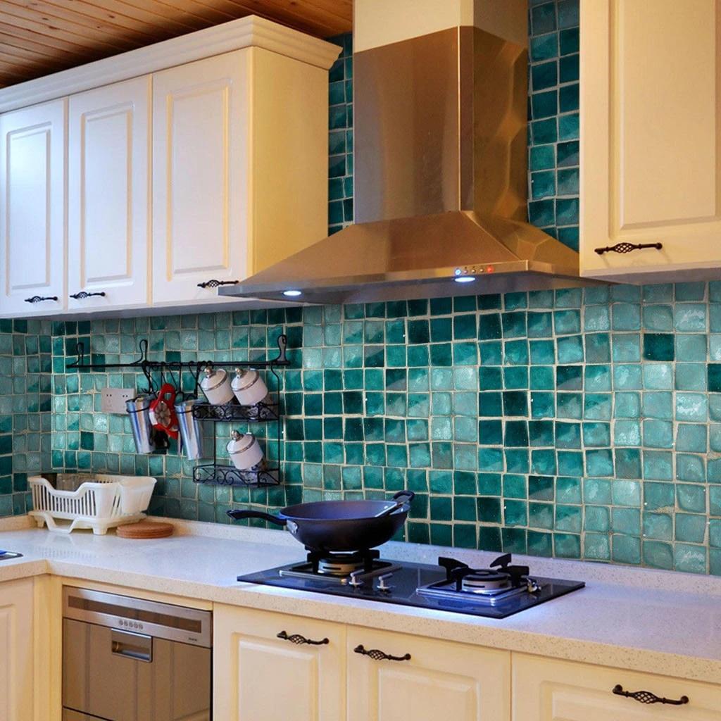 self adhesive mosaic tile sticker kitchen backsplash bathroom wall tile stickers decor waterproof peel stick pvc tiles