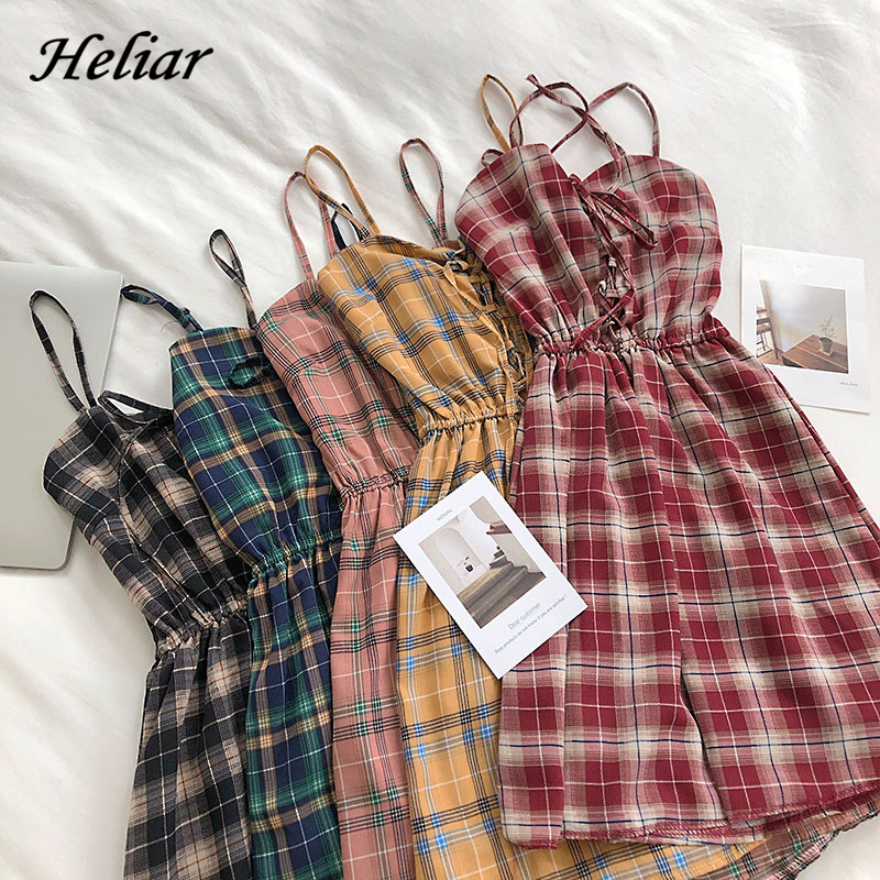 HELIAR 2020 Summer Plaid Rompers Playsuits Lady Pumpsuits Spaghetti Lapel Sleeveless Party Cloth Female Playsuit Women