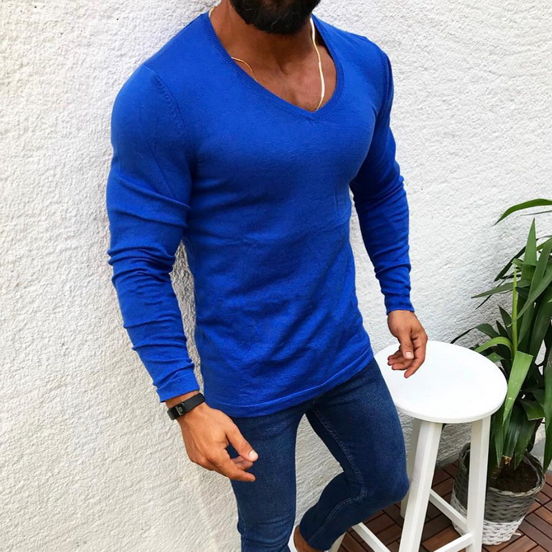 Men's Fashion V-neck Wool Knitted Pullovers Males Winter Warm Long Sleeve Solid Color Soft Casual Slim Fit Sweaters 2019 New