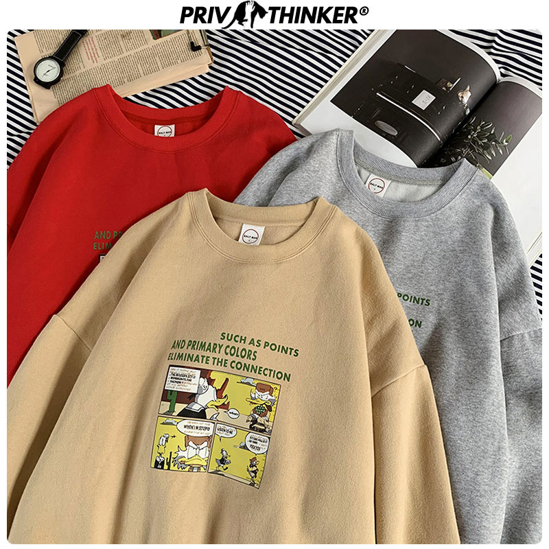 Privathinker Woman Thicken Warm Harajuku Print Pullover Couple 2019 Sweatshirts Female Autumn Winter Loose Hoodies Lady Clothes