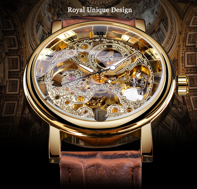 Winner Transparent Golden Case Luxury Casual Design Brown Leather Strap Mens Watches Top Brand Luxury Mechanical Skeleton Watch 2