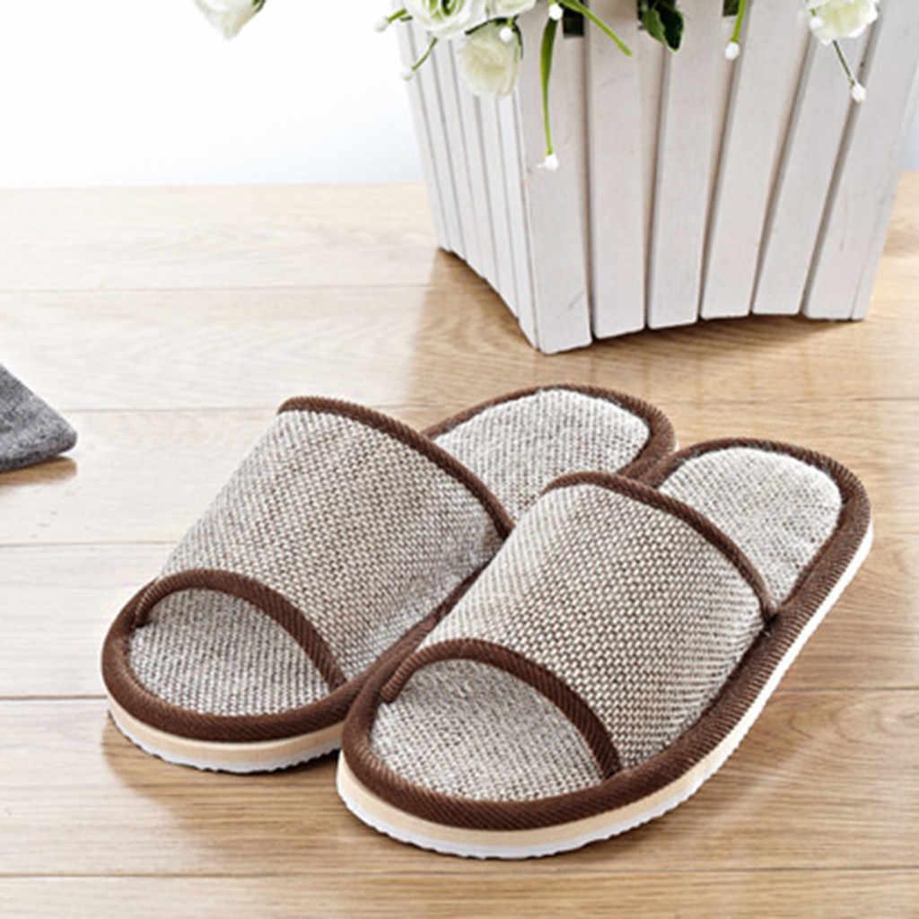 Hot Koop Natuurlijke Vlas Thuis Slippers Indoor Vloer Schoenen Stille Zweet Slippers Voor de Zomer Katoen Linnen Vrouwen Sandalen Slippers
