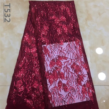 African Lace Fabric 2019 High Quality Lace Fabric French Sequins Net Cord Tulle Fabrics Nigerian Laces For Wedding Dress Wine