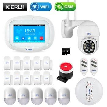 KERUI K52 4.3 Inch Touch Screen Wireless GSM WIFI Home Security Alarm System Sensor Burglar Signal Device Surveillance IP Camera 1