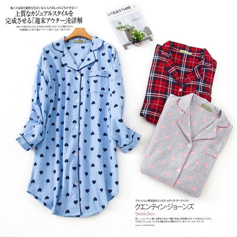 Autumn Winter Sexy Lady Nightshirt Nightdress Women Robes Casual Nightgown 100% Cotton Sleepwear Sleepshirt Plus Size