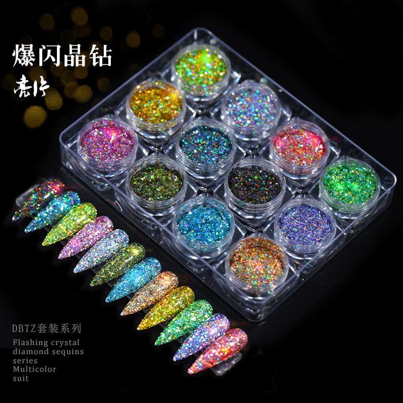 12box/set nail glitter powder iridescent flakes sequins gold silver Super shiny sequins nails art manicure accessories decoratio