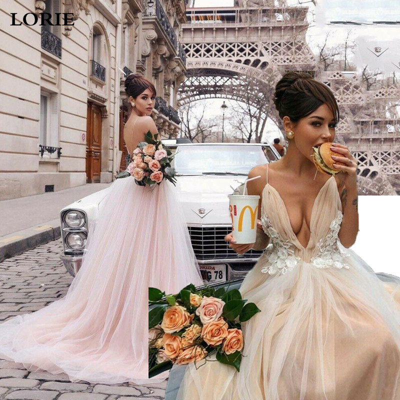 LORIE Boho Wedding Dress 2020 Appliqued Lace A Line Beach Bride Dress Wedding Gown Spaghetti Straps Vestidos De Novia