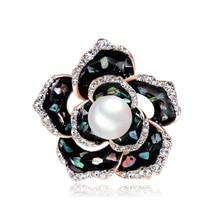 Korean version of retro alloy shell drop brooch imitation Pearl flower brooch pin factory outlet alloy flower brooch