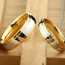 New Fashion Simple Design 316 Titanium Steel Mens Rings Lover Couple Alliance Gold Wedding Band Set for Women Men
