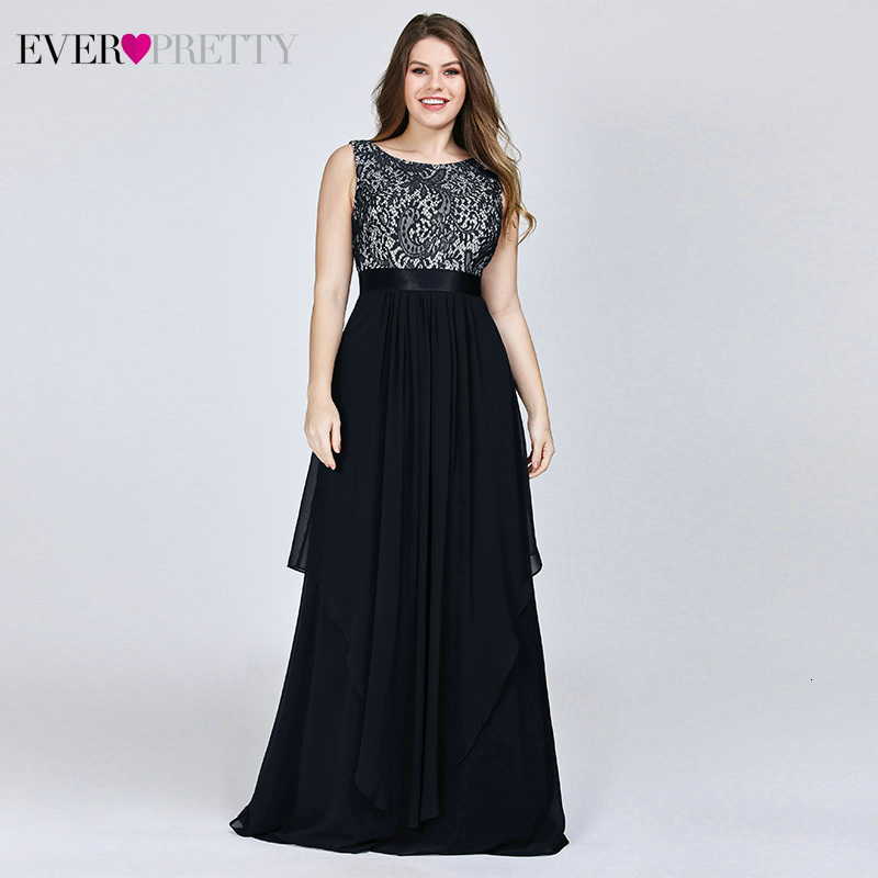 Plus Size Floral Lace Bridesmaid Dresses Ever Pretty A-Line Ruffles Sleeveless O-Neck Layer Elegant Wedding Party Gowns 2020