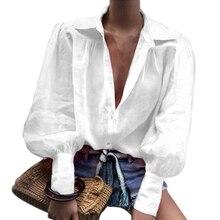 Autumn Notched Collar Office Ladies Shirts V Neck Women Casu