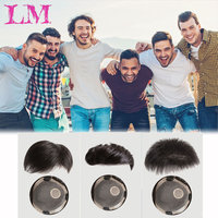 LM 6''Topper Toupee Hairpiece Clip In One Piece Hair Extension Synthetic Hair with Bangs for Men Natural Black Fashion Airpalne