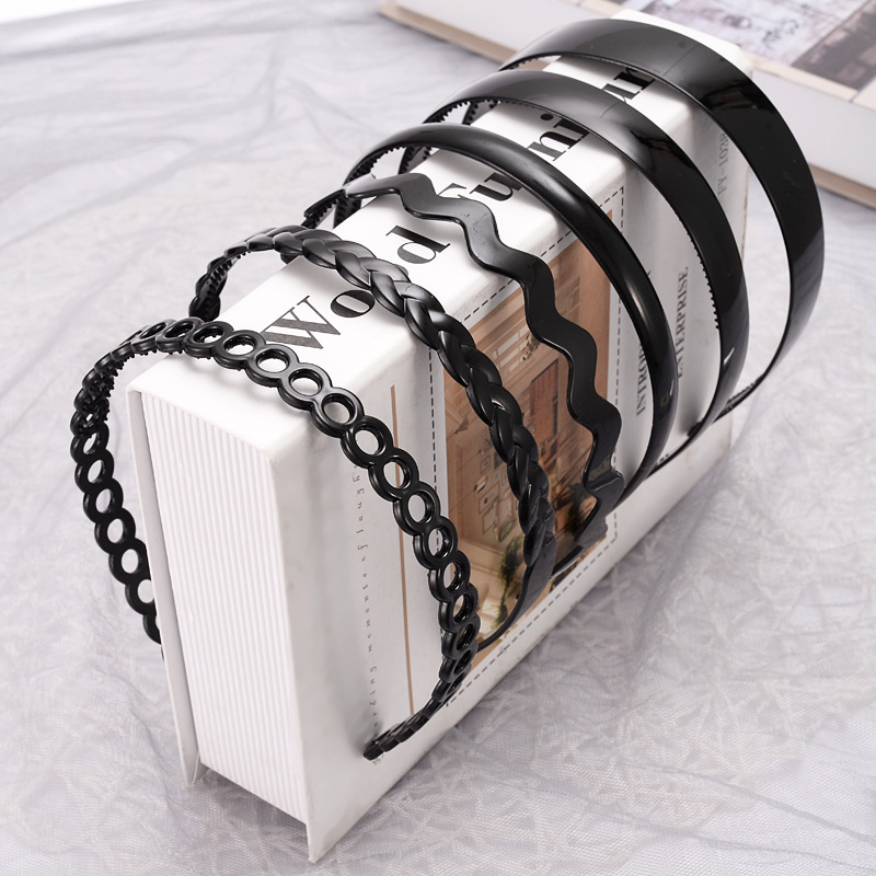 1 шт. модная волнистая мужская женская унисекс пластиковая резиновая черная волнистая повязка на голову обруч для волос спортивная повязка ...