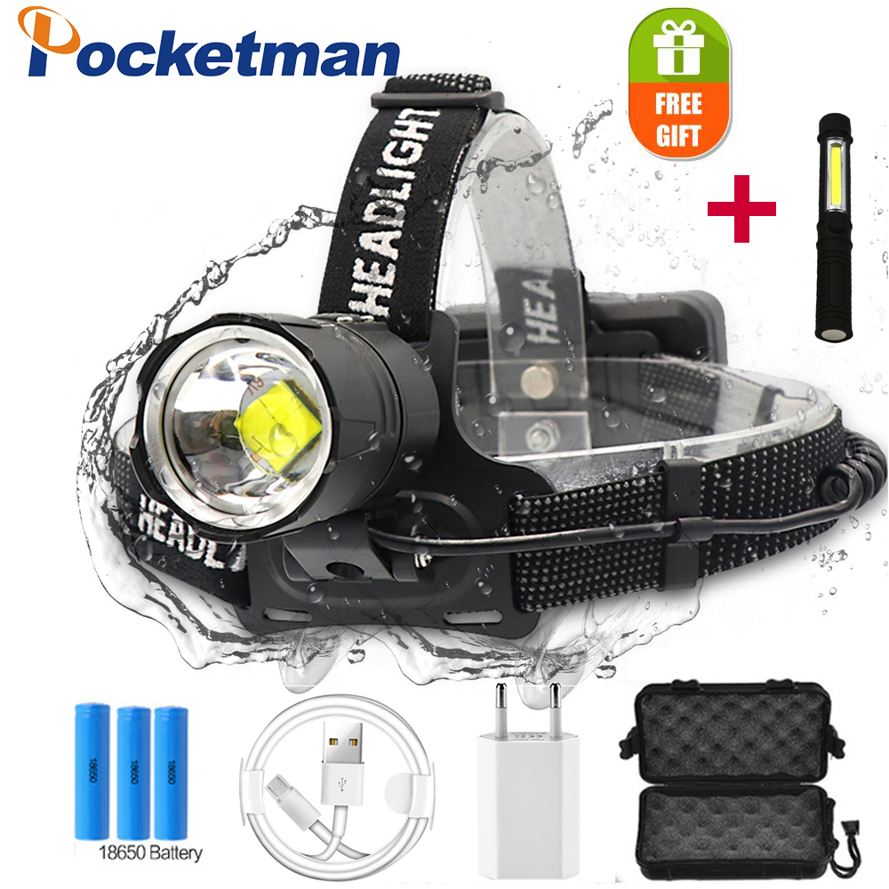 XHP-70.2 Led Headlight Headlamp Led Rechargeable Headlamp Use 3*18650 Battery Torch Waterproof Zoomable Head Lamp Running Light