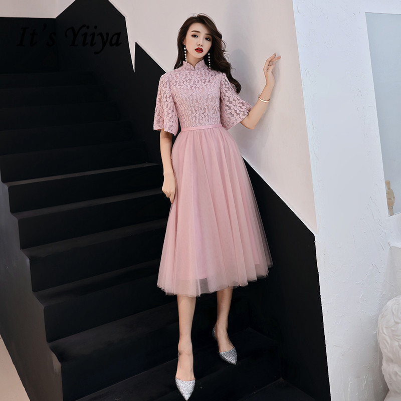 It's Yiiya Formal Dress Tulle Embroidery Solid Evening Dress 2020 LF153 High Collar A-Line Zipper Evening Dresses For Women