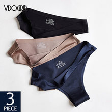 VDOGRIR-ropa interior Sexy para mujer, tangas deportivos sin costuras, de cintura baja, lisa, suave, para mujer, 3 unids/lote