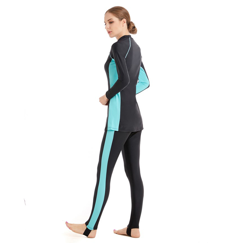 Full Cover Muslim Swimwear Hajib Islamic Swimsuit For Women Modest Splice Conservative Burkinis Swim Wear Plus Size 6XL