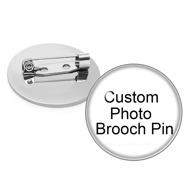 Personalized Photo Custom Pictures Brooches Men Women Glass Cabochon Silver Plated Backpack Lapel Pin Button Badges Brooch Gift