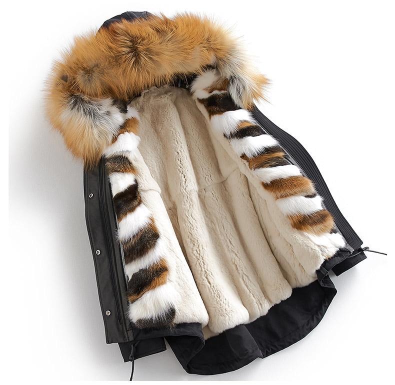 Fox Natural Fur Liner Parka Real Fur Coat Winter Jacket Women Raccoon Fur Collar Korean Jackets For Women Outwear MY4076 S