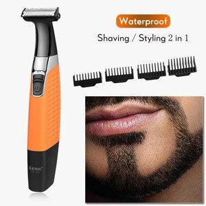 Kemei Rechargeable Electric Shaver Reciprocating Beard Shaver Waterproof Electric Razor Trimmer Men Shaving Machine 100-240V 40D