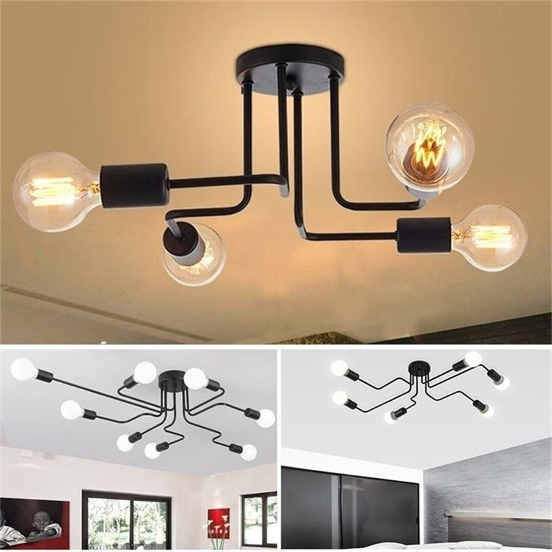 Oygroup Vintage Ceiling Lights For Home Lighting Luminaire Multiple Rod Wrought Iron Ceiling Lamp E27 Bulb Oygroup Vintage Ceiling Lights For Home Lighting Luminaire Multiple Rod Wrought Iron Ceiling Lamp E27 Bulb Living Room#CL06/CL08